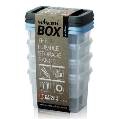 490ml Wham Storage Boxes Plastic Container Storage Basket Clear With Colour Lids • 6.49£