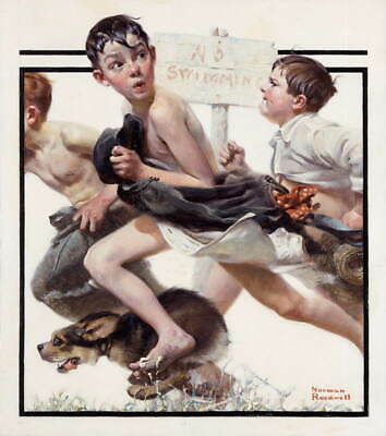 $ CDN13.32 • Buy Norman Rockwell No Swimming Giclee Art Paper Print Poster Reproduction