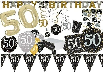 50th GOLD Celebration Birthday Party  Balloons Tableware Decorations Supplies  • 2.85£