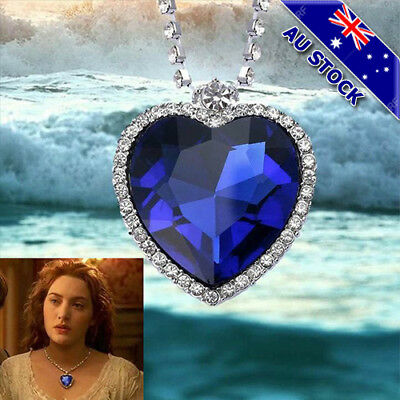 AU7.96 • Buy Classic Heart Of The Ocean Love Heart Sapphire Silver Tone Pendant Necklace Gift
