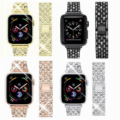 $ CDN16.20 • Buy Stainless Steel Bling Diamond Bands For Apple Watch Series 4 3 2 1 IWatch Straps