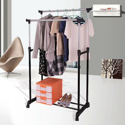 Double Clothes Rail Garment Coat Shirt Hanging Display Stand Rack With Wheels UK • 10.49£