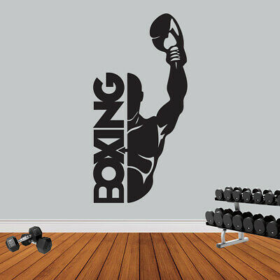 Boxing Sport Gym Fitness Wall Sticker Workout Motivation Quote Wall Art Decal • 8.95£