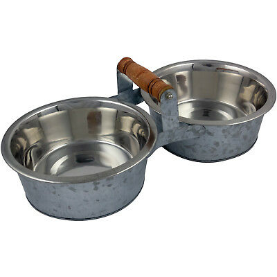 Large Double Pet Feeding Bowl Stand Dog Puppy Food Water Station Raised Vintage • 14.95£