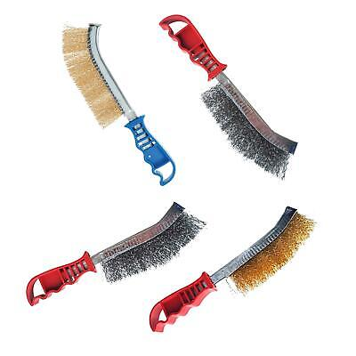 Wire Brush Set Of 2 Brass & Steel - Light & Heavy Duty Cleaning Rust Remover • 5.15£