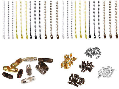 Chain Ball Metal Beaded Clasp Connector Keychain Length Key 15cm Cord 2.4mm New • 2.49£