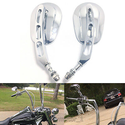 $49.95 • Buy Chrome Motorcycle Parts Rearview Custom Mirrors For Harley Motorbikes Touring Us