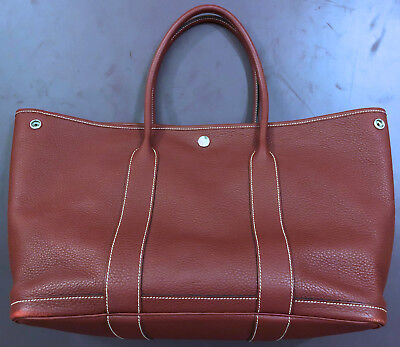df7344ed5f38 HERMES Garden Party Burgundy Dark Red Rouge H Tote Bag Negonda Leather PM 36  USA •