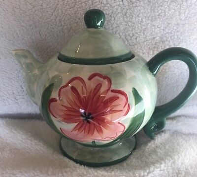 """£9.16 • Buy ***Ceramic Teapot. Light Green. 9.5"""" By 7"""". Collectible. Floral. Elegant.***"""