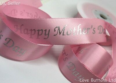 1M PRETTY PINK HAPPY MOTHERS DAY SATIN RIBBON 25mm WIDE Cards Flowers Cakes • 1.95£