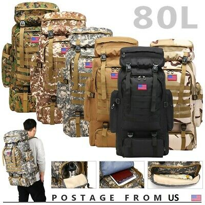 $30.88 • Buy 80L Outdoor Military Molle Tactical Backpack Rucksack Camping Hiking Travel Bag