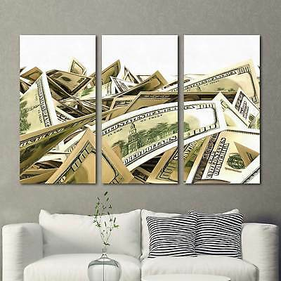 $31.15 • Buy Money Dollars Stacks 3 Piece Canvas Wall Art Picture Painting Home Decor