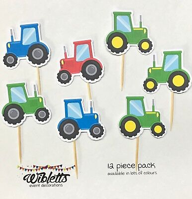 AU12.50 • Buy Farm Tractor Theme Birthday Party Cupcake Toppers. Red Blue Green 'john Deere'