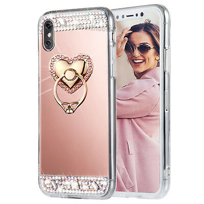 AU5.62 • Buy Bling Diamond Crystal Ring Holder Kickstand Mirror Makeup Back Case Skin Cover T