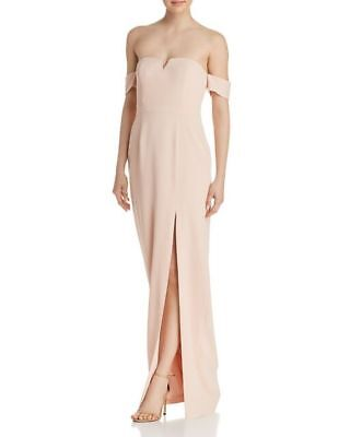 $49.99 • Buy Aidan Mattox NWT BLUSH PINK  Off-shoulder Evening Crepe Gown Dress Size 4 6 8 12