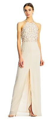 $49.99 • Buy Aidan Mattox NWT BLUSH PINK  Halter Column Gown With Texture Sequin Beading, 0 4