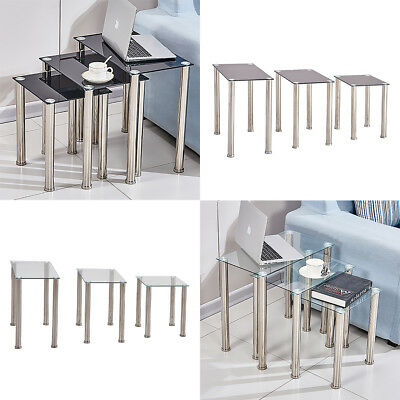 Square Nest Of 3 Tables Glass Nested Side End Tables Set Black Clear Modern Home • 45.99£