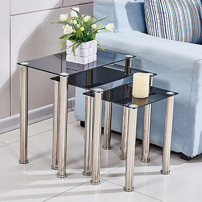 Square Nest Of 3 Tables Glass Nested Side End Tables Set Black Modern Home Decor • 45.99£