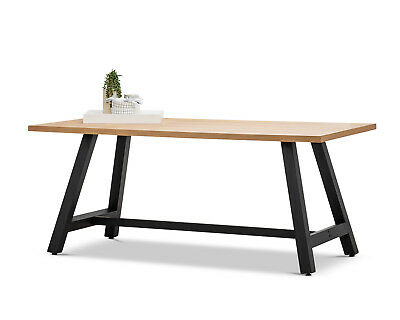 AU549 • Buy Industrial Rustic Style Oak Wood Rectangular 1.8m Dining Table With Black Legs