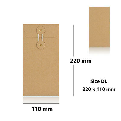 Manilla - With & W/O Gusset - String & Washer DL Size Bottom & Tie Envelopes • 7.39£