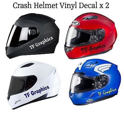 Personalised Crash Hat Vinyl Decal - Safety Helmet Sticker Motorbike Motorcycle • 3.25£