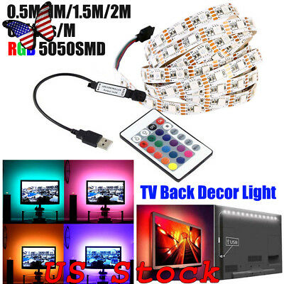 $4.39 • Buy DC5V USB LED Strip 60LEDs/M 5050 RGB Flexible Light 0.5M-2M TV RGB Adhesive Tape