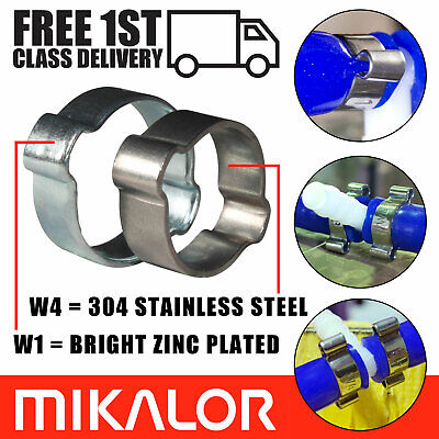 £3.60 • Buy Mikalor Double Ear O Clips Stainless Steel / BZP Fuel Air Water Hose Pipe Clamps