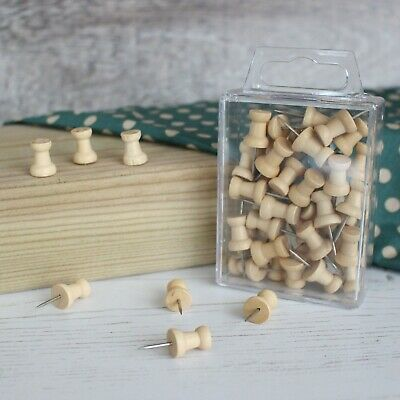 Wooden Push Pins Natural Wood Coloured Art Craft & Cork Notice Boards In Cases • 2.35£