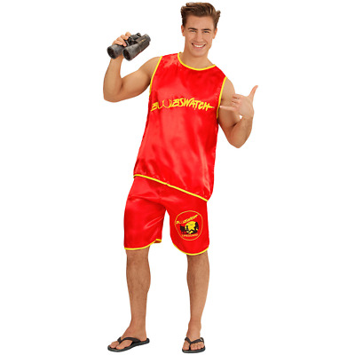 Mens Lifeguard Costume + Boobs Adult Novelty Baywatch Fancy Dress Stag Do Outfit • 14.99£
