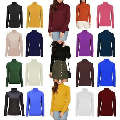 £6.66 • Buy Womens Ladies High Roll Polo Neck Knitted Ribbed Jumper Sweater Top Uk Plus Size