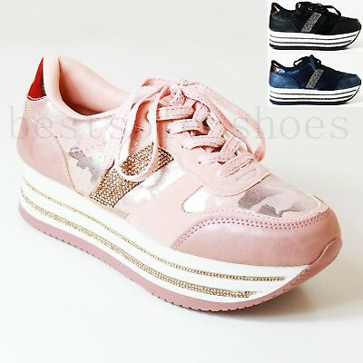 £14.99 • Buy Womens Ladies Diamante Platform Flatform Wedge Chunky Lace Up Trainers Creepers