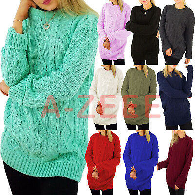 ...Womens Baggy Jumper Ladies Cable Knit Sweater Oversized Casual Pullover Tops  • 12.99£