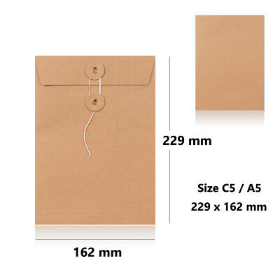 Strong Manilla String & Washer Bottom & Tie Envelopes C5 - 229 X 162 Mm Size • 219.95£