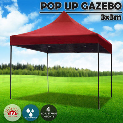 AU92.50 • Buy 3x3m Pop Up Gazebo Outdoor Tent Folding Marquee Party Camping Market Canopy Red