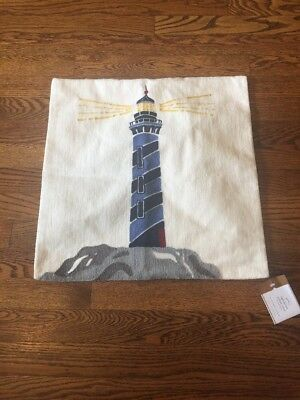$35 • Buy Pottery Barn Lighthouse Pillow Cover 18x18 NWT Cream Blue Red Yellow Nautical