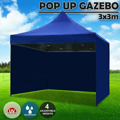 AU134.95 • Buy 3x3m Pop Up Gazebo Outdoor Tent Folding Marquee Party Camping Market Canopy Blue