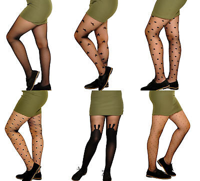 £3.65 • Buy Girls Kids Black Party Everyday Pattern Tights 9-15 Years