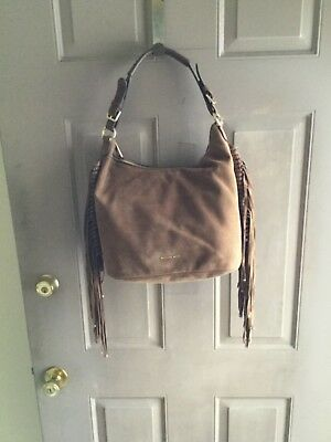 4274af288cef Michael Kors Billy Fringe Suede Hobo Bag Tan Caramel • 129.00