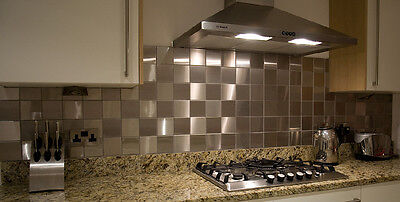 Pack Of 10 BRUSHED METAL STAINLESS STEEL WALL KITCHEN SPLASHBACK TILES 98 X 98mm • 8.95£