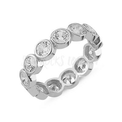 RHODIUM PLATED 925 SILVER ETERNITY RING - 4mm ROUND BRILLIANT CUT CUBIC ZIRCONIA • 21.95£