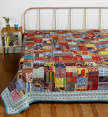 Indian Handmade Quilt Multi Patchwork Kantha Bedspread Throw Cotton Blanket King • 68.99£