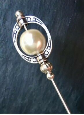 IVORY PEARL HAT PIN Vintage Antique Silver Style Hat Pin 5  With Pin Protector** • 5.50£