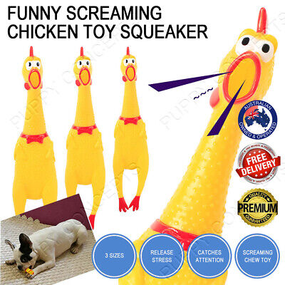 AU11.99 • Buy Funny Screaming Chicken Toy Squeaker Shrilling Pet Dog Bite Squeeze Rubber Chew