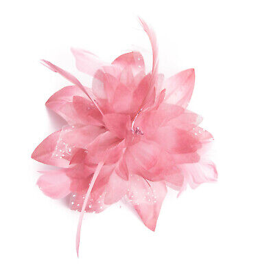 Dusky Pink Feather Comb Fascinator Wedding Races Proms Bridal Hair Accessory 3 • 2.89£