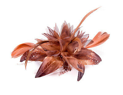 £3.75 • Buy Brown Feather Comb Fascinator Wedding Races Proms Bridal Hair Accessory 3