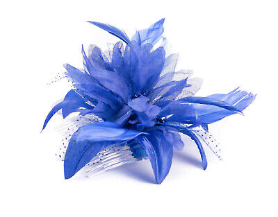 £3.75 • Buy Royal Blue Feather Comb Fascinator Wedding Races Proms Bridal Hair Accessory 3