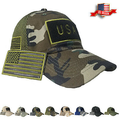 4adbbe8c66cec Mens Baseball Cap USA American Flag Hat New Mesh Visor Military Army Polo  Style • 9.94