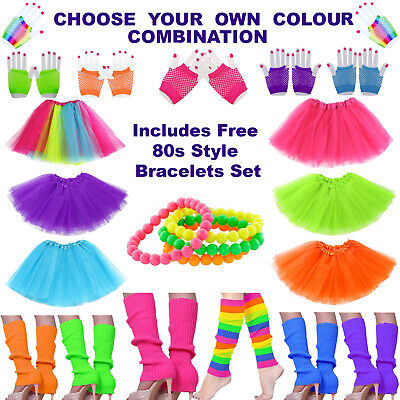 AU29.99 • Buy 80s Tutu Outfits | 80's Fancy Dress Costume Womens | Fluro Leg Warmers & Gloves