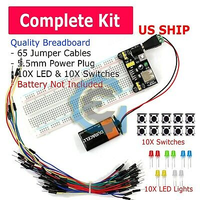 £6.15 • Buy 830 Point Solderless Breadboard 65 Pcs Jumper Cable Mb-102 Power Supply Module