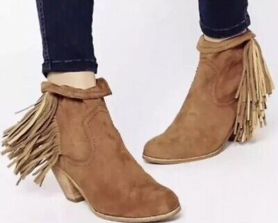 af477729606dff Sam Edelman Womens Sz 6 Suede Louie Boots Ankle Fringe Booties Brown •  14.99